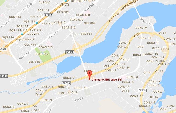 mapa renovação cnh núcleo bandeirante